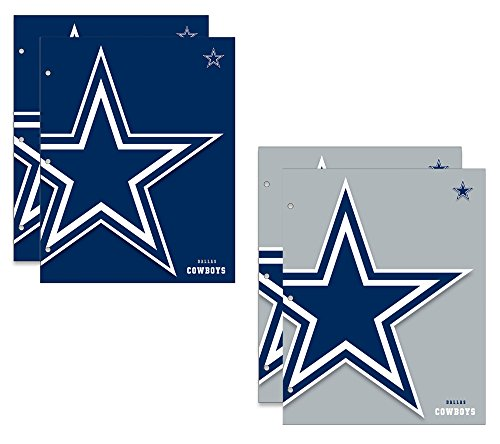 (Dallas Cowboys NFL 2-Pocket School Folders, 4 Pack, 9.5