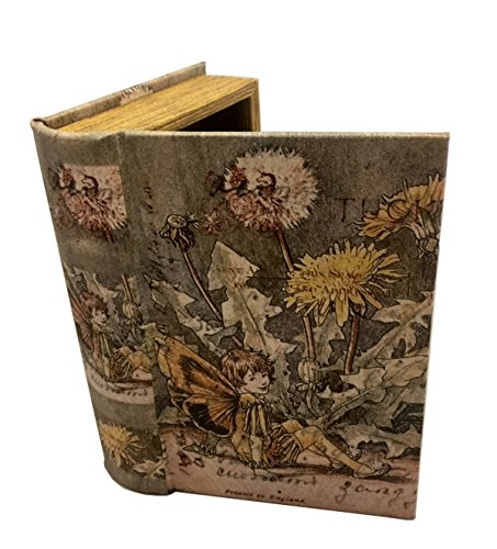 MilmaArtGift Vintage Fairy Book Box Leather Over Wood Secret Storage Box Fairy Keepsake