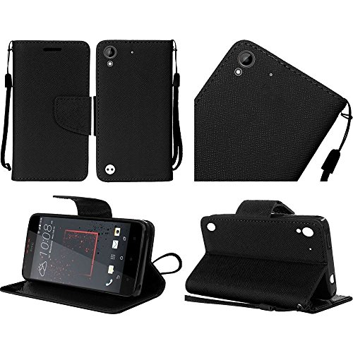 Htc Flip Phone (HTC Desire 530 / Desire 555 / Desire 630 / Desire 550 case, Luckiefind PU Leather Flip Wallet Credit Card Cover Case, screen protector, Stylus Pen Accessory (Wallet Black))