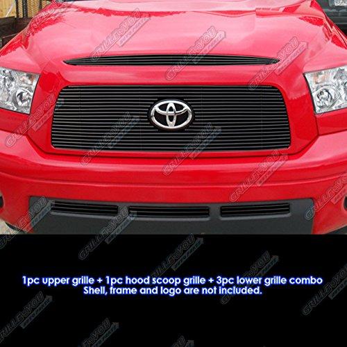 APS 2007-2009 Toyota Tundra Logo Show W/ Hood Scoop Black Billet Grille Combo (Upper Billet Grille Hood Scoop)
