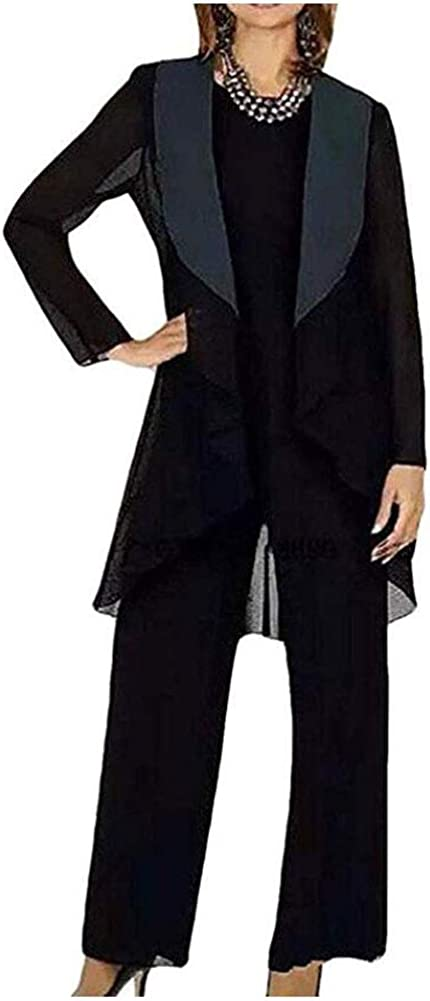 3 PC Chiffon Mothers Outfit Pants Suits for Wedding Plus Size Womens Evening Gowns Dress Suit