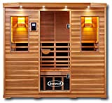 ClearLight Jacuzzi IS-5-GS Glass Premier Five 5 Person Sauna Red Cedar - Infrared Fusion Power Carbon-Ceramic Heaters, Near Zero EMF - Chromotherapy Lights, Bluetooth AUX MP3 Audio Inputs