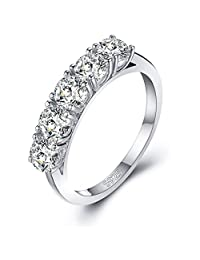 Mozume Women's 4mm Round Cut Cz Stackable Wedding Engagement Anniversary Ring Sterling Silver