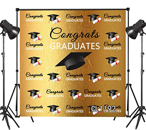 LB Congrats Class of 2019 Graduates Backdrop for Photography 10x10ft Photo Booth Background Black Bachelor Cap Vinyl Customized Studio Props CL1192