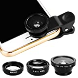 JAYLINNA 3 in 1 Phone Camera Lens Kits,180x Fisheye+0.67x Wide Angle+10x Micro Lens for iPhone X,7,8,6,6s,6 Plus,Samsung Sony and More Smartphones(Black)