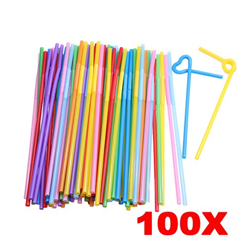teerasmile 100PCS Food Grade PP Plastic Flexible Ice Tea Bar Party Disposable Drinking Drink Straws Bendable Multicolor PTSP (Drinking Quest Trilogy Edition)