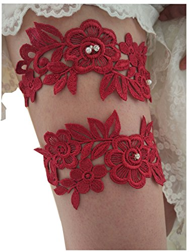 Classic lace crystals pearls wedding garter set s06 (Burgundy)