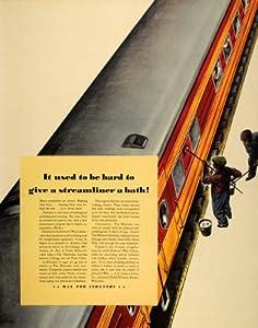1941 Ad S.C. Johnson Wax Haiwatha Train Car Cleaning - Original Print Ad