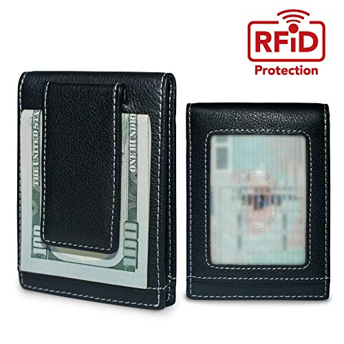 (KEKS Slim Leather RFID Credit Card Holder and Money Clip - Business Card Wallet)
