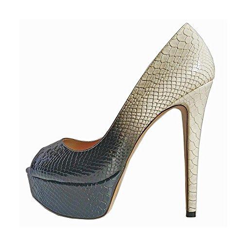 Leather Platforms Lambskin (Maguidern Women's High Heels Platform Pumps, Peep Toe Pumps for Dress Wedding Party White Black Size 7.5)