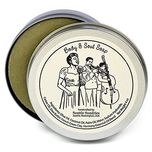- Body & Soul Soap-100% Natural Skin Care Bar. Scented with Essential Oils. One 4 oz Bar in a Handy Travel Gift Tin. Great For Music Jazz Lovers.