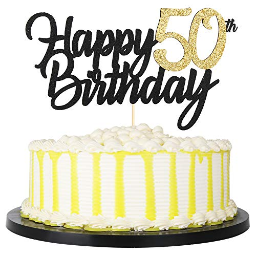 PALASASA Black Gold Glitter Happy Birthday cake topper - 50 Anniversary/Birthday Cake Topper Party Decoration (50th)