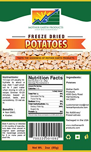 Mother Earth Products Freeze Dried Potatoes (2 Cup (Freeze Dried Diced)
