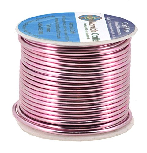 Mandala Crafts Anodized Aluminum Wire for Sculpting, Armature, Jewelry Making, Gem Metal Wrap, Garden, Colored and Soft, 1 Roll(12 Gauge, Pink)