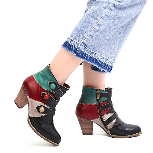 21f51e1ab8e gracosy Womens Leather Ankle Boots Winter Low Block Heel Ankle Booties  Ladies Autumn Comfy Casual Wedding Party Dress Zipper Shoes Vintage  Handmade Bohemian ...