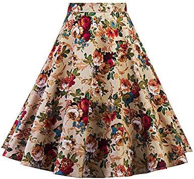 Mujeres Faldas Vintage Falda Acampanadas Plisada A-Line con Floral ...