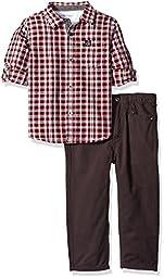 Calvin Klein Little Boys Shirt and Twill Pants Set-Plaid Shirt, Burgundy, 7