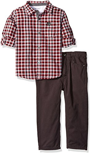 Calvin Klein Little Boys Shirt and Twill Pants Set-Plaid Shirt, Burgundy, (Plaid Twill Pant)