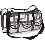 Heavy Duty Clear See Through Vinyl 6 External Pockets Shoulder Strap Makeup Artist Cosmetics Accessories Supply Storage Travel Organizer Carrying Case Bag