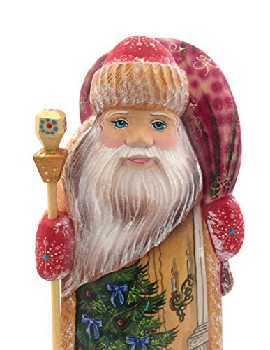 Russian SANTA Nutcracker Wood Hand Carved Hand Painted Signed by artist