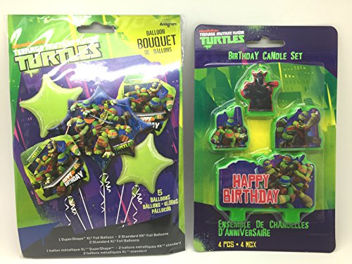 Ninja Turtle Birthday Balloon Bouquet Birthday Party Favor Supplies 5ct Foil Balloon Bouquet with Happy Birthday Candles -