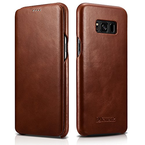 Galaxy S8 Genuine Leather Case, icarercase Vintage Real Leather Series [Curved Edge] [Full Screen] [Full Body Protection] Slim Fit Folio Flip Case for Samsung Galaxy S8 (5.8 inch) (SM-G950F) (Brown)
