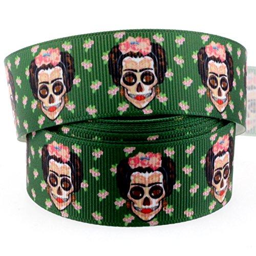 Midi Ribbon 10 Yards 1 Inch Mexico Artist Halloween Floral Skull Print Grosgrain Ribbon for Hair Bow Hair Clip Accessories Collar DIY Supplies Material