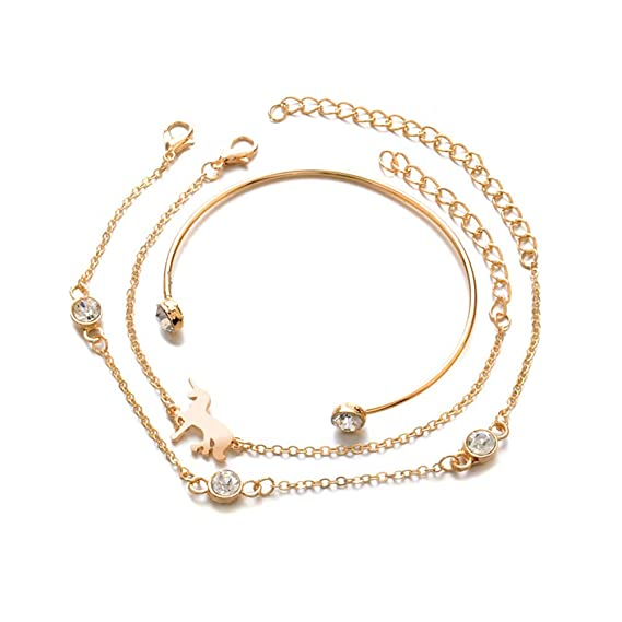 6656d29891bf7 FENICAL 3PC Mujeres Pulsera Conjunto Simple Unicornio Tallado Diamante  Hollow Opening Bracelet Bangle Suit para regalo de Navidad  Amazon.es  Ropa  y ...