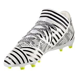 adidas Boys' Nemeziz 17.3 FG J Soccer Shoe, White/Solar Yellow/Black, 1.5 Medium US Little Kid