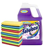 Fabuloso Makes 64 Gallons Lavender Purple Liquid Multi-Purpose Professional Household Non Toxic Fabolous Hardwood Floor Cleaner Refill + Uben Microfiber Assorted Colors 12 X 12 Cleaning Cloth -12 Pack