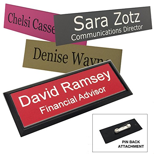 Business Name Tag/ID Badge Personalized - Laser Engraved, Pin Back - Customize -