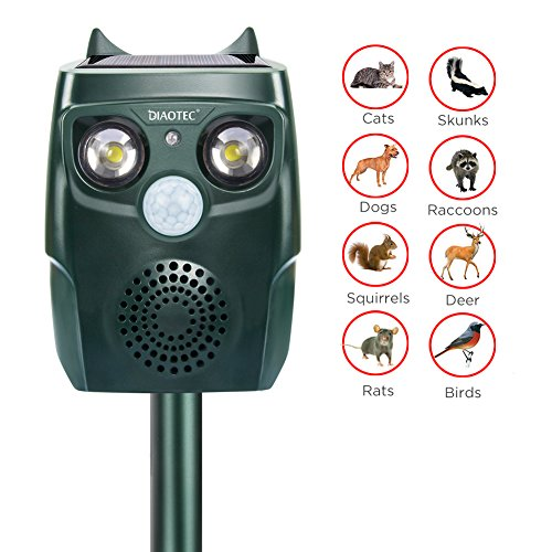 Diaotec Ultrasonic Animal Repellent Solar Powered Waterproof Outdoor Animal Repeller Deterrent - Repel Dogs Cats Squirrels Deer Birds Wild Animals- Activated Motion PIR Sensor