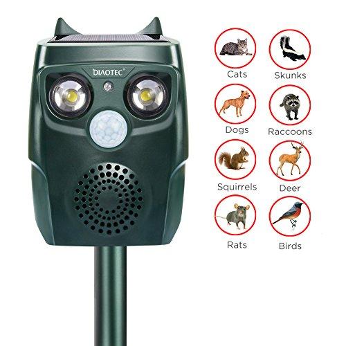 Diaotec Ultrasonic Animal Repellent Solar Powered Waterproof Outdoor Animal Repeller Deterrent - Repel Dogs Cats Squirrels Deer Birds Wild Animals- Activated Motion PIR Sensor (Best Ultrasonic Cat Repeller)
