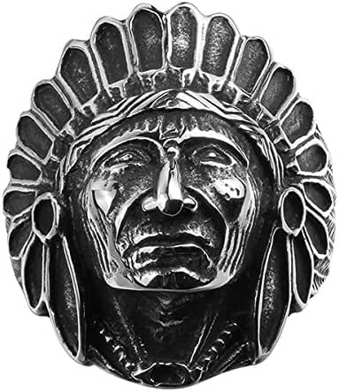 Godyce Indian Head Rings for Women Men Size 8-11 - Titanium Steel With Gift Box