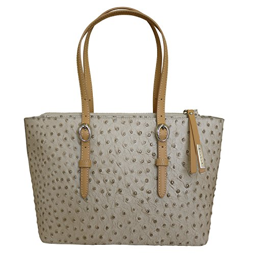 Nicoli 'Exotic' Designer Italian Leather Tote Shopper Wedding Handbag - Tan by Nicoli