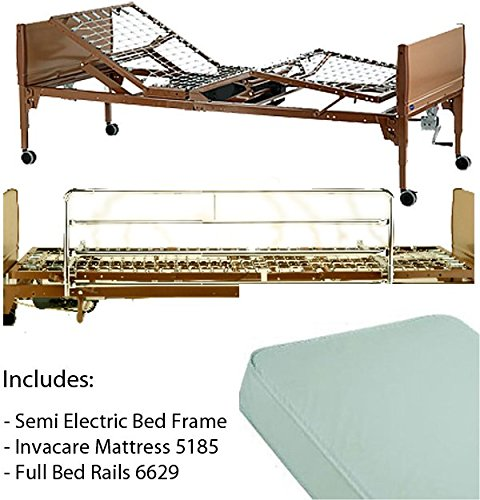 Invacare 5310IVC, 6629, 5185 Semi Electric Homecare Bed, Semi Electric Bed, 5310 IVC with Innerspring Mattress, 5185 and Full Length Rails, 6629 by Invacare