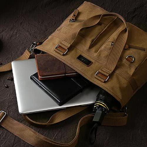 Briefcase Cross Section Square Multi-Function Large Capacity Waterproof Canvas Double Leather Mens Shoulder Messenger Bag Casual Outdoor Bag Brown