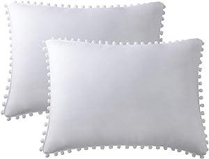 ApriLin Pompom Fringe Pillowcases, White Pillow Shams Double Brushed Microfiber Pillow Sham Pillow Cover Set King Size White