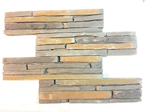 Modulo Oslo Easyfix Wall Cover Back Splash, Faux Gypsum Stone Veneer for Interior Decor. Easy Peel n Stick pieces. DIY - Bathroom, Kitchen, Dining, Living room and Office. 8.4sqft/box (Box, Grey) (Over Stone Veneer Brick)