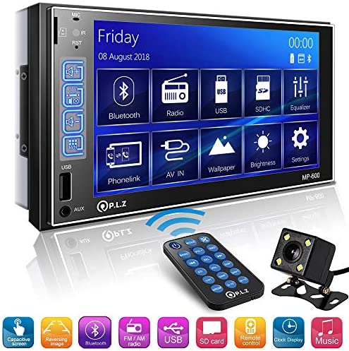 Double Din Car Stereo in-Dash Digital Media Car Stereo Receiver with Bluetooth, 7 Capacitive Touchscreen Digital LCD Monitor, MP5 Player FM Am TF USB Aux-in, Remote and Backup Camera Included