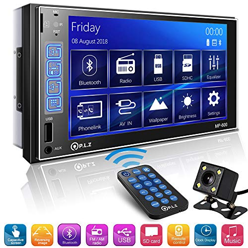 Double Din Car Stereo in-Dash Digital Media Car Stereo Receiver with Bluetooth, 7'' Capacitive Touchscreen Digital LCD Monitor, MP5 Player/FM/Am/TF/USB/Aux-in, Remote and Backup Camera Included (Best Double Din Car Stereo Under 200)