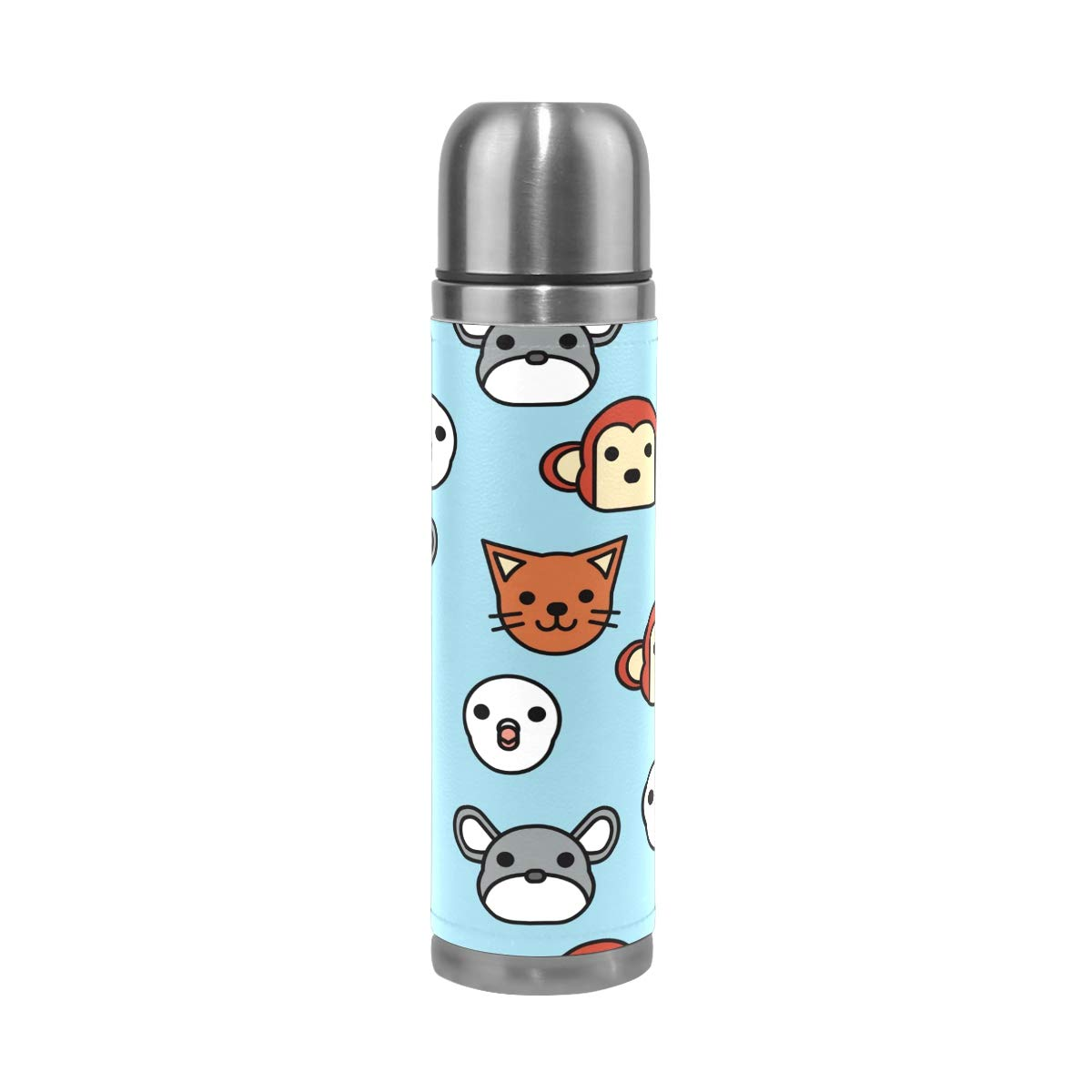 Jojogood Pattern of Animals Stainless Steel Water Bottle Leak-Proof Vacuum Insulated Double Wall PU Leather Travel Thermos Mug for Hot and Cold Drinks 17 oz