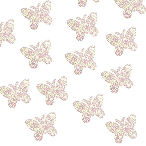 Felt Shapes - 100-Pack Butterfly Shaped Craft Felt Cutout Embellishment Decoration, Pink Glitter Sequins, 0.8 x 0.8 inches
