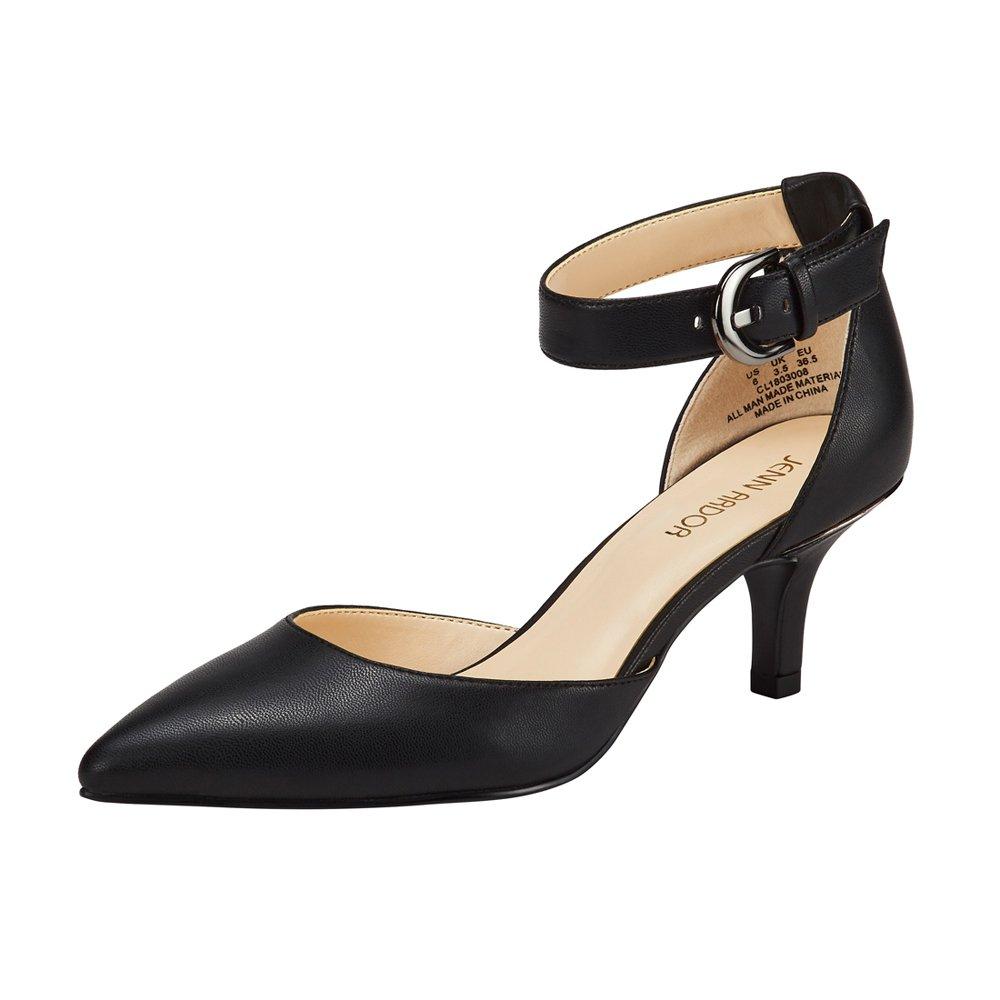 JENN ARDOR Women's Kitten Heel Pumps Ladies Closed Pointed Toe D'Orsay Sandals Ankle Strap Leather Dress Stiletto Black 8.5 (9.9in) by JENN ARDOR