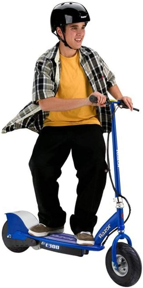Razor E300 Durable Adult Teen Ride On 24v Motorized High Torque Power Electric Scooter Speeds Up To 15 Mph With Brakes And 9 Inch Pneumatic Tires For Ages 13 Blue Sports