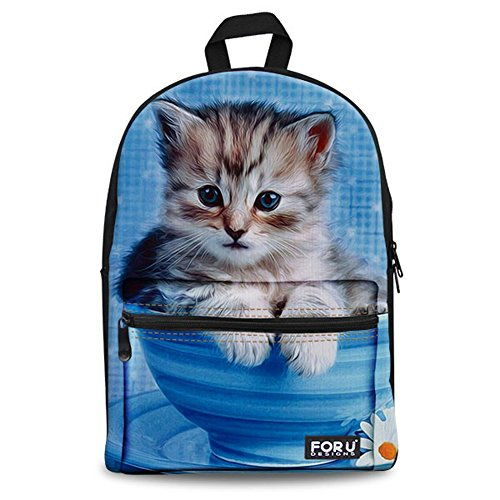 FOR U DESIGNS Fashion Cute Blue Cat Print Canvas Kindergarten Children Schoolbag Daypack ()