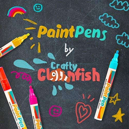 Paint Pens Markers Set Of 15: Variety Of Shades With Gold, Silver and White. Medium Point Permanent Color Pens for Rocks, Wood, Glass, Plastic and Metal. Quick Dry, Water Resistant For Every Surface