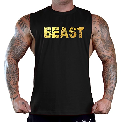 Interstate Apparel Inc Men's Gold Foil Cracked Beast Black Sleeveless T-Shirt Tank Top 2X-Large Black ()