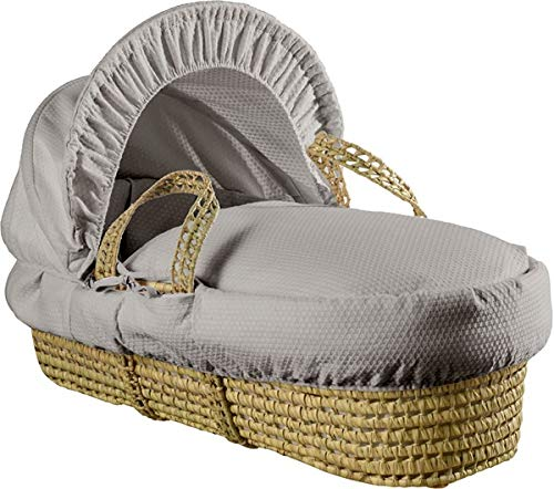Clair de Lune Cotton Dream Palm Moses Basket with Rocking Stand, Grey