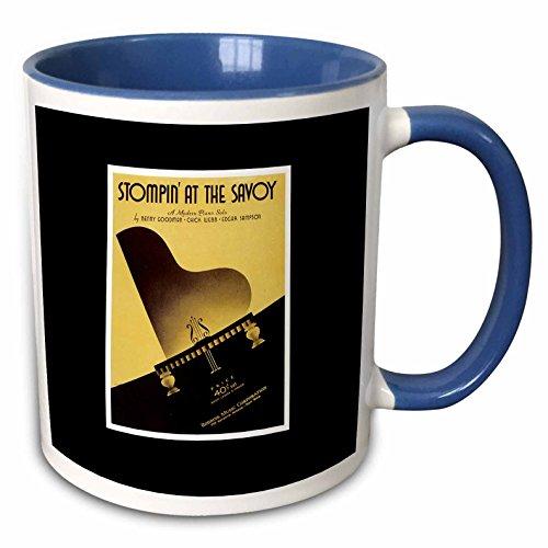 (3dRose BLN Vintage Song Sheet Covers Reproductions - Stompin at the Savoy Modern Piano Solo with Grand Piano - 15oz Two-Tone Blue Mug (mug_170609_11))